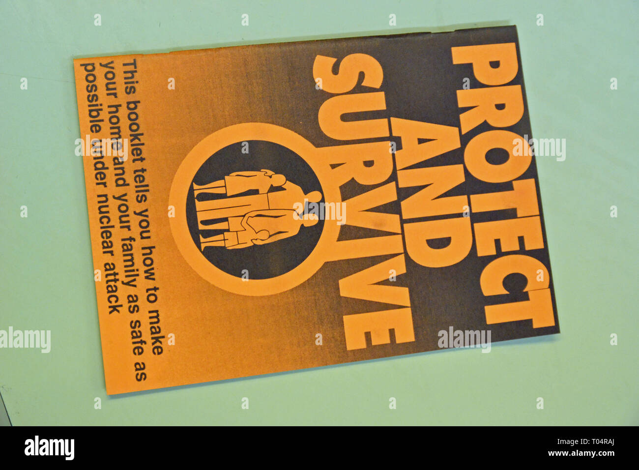 Protect and Survive Booklet in the Kelvedon Hatch Secret Nuclear Bunker, Brentwood, Essex, UK - Stock Image