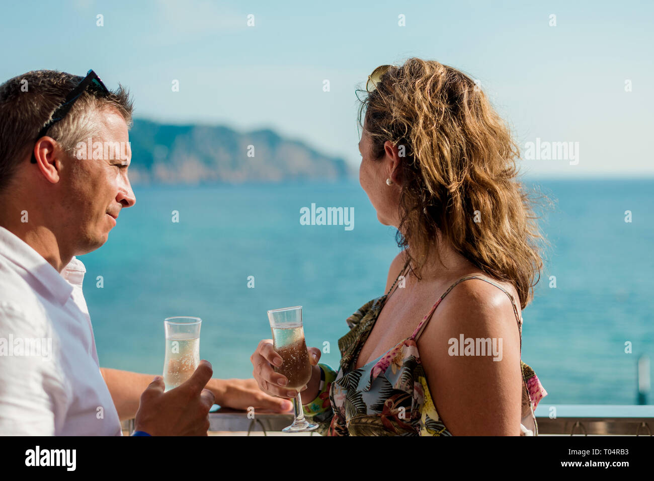 champagne and sea - Stock Image