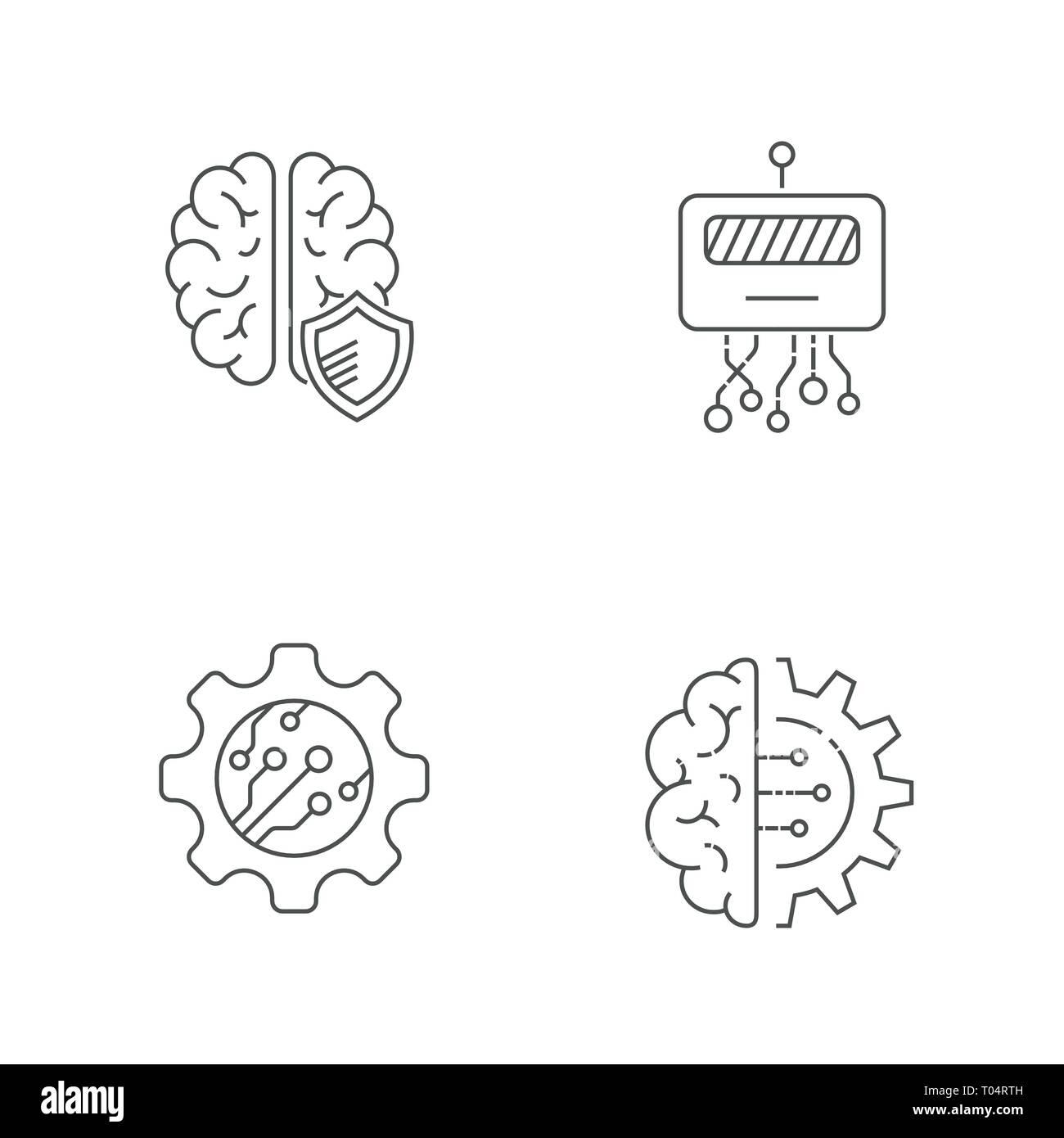High computer technology. Hi-tech, AI, Iot, Indystry 4.0. Editable Stroke. EPS 10 - Stock Image