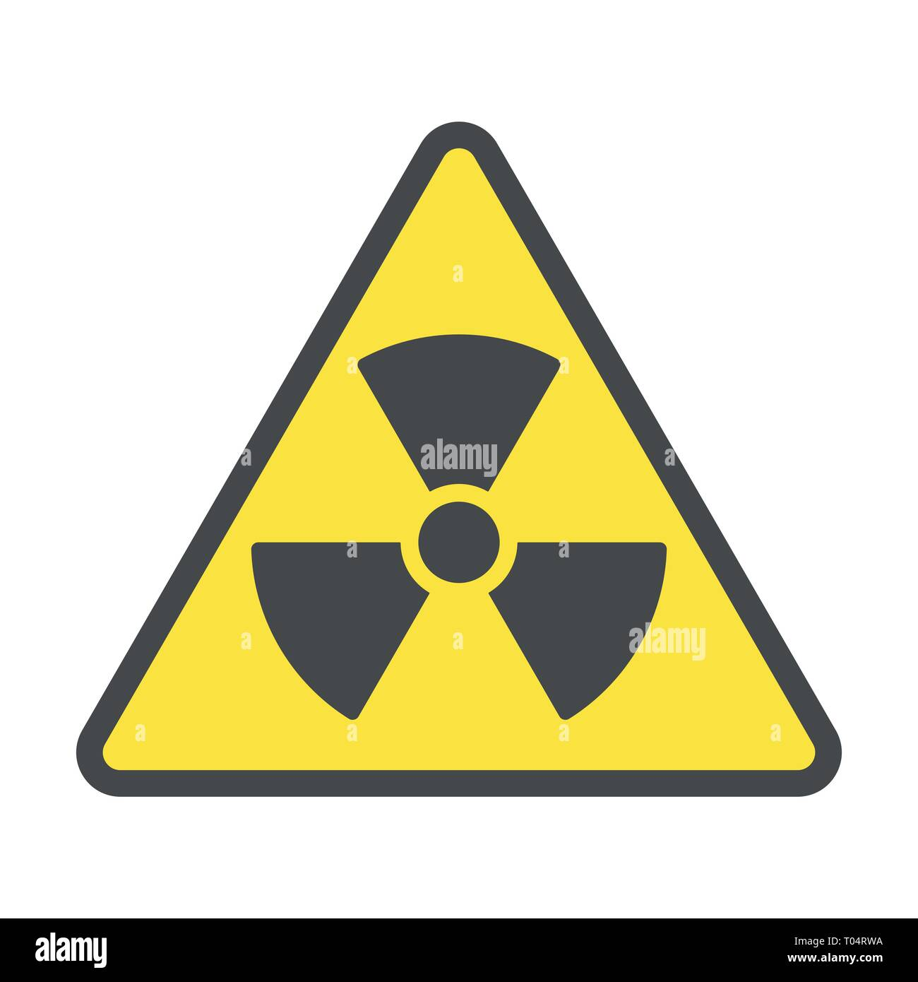 Radioactive zone, vector sign or symbol. Warning radioactive zone in triangle icon isolated on yellow background with stripes. Radioactivity - Stock Vector