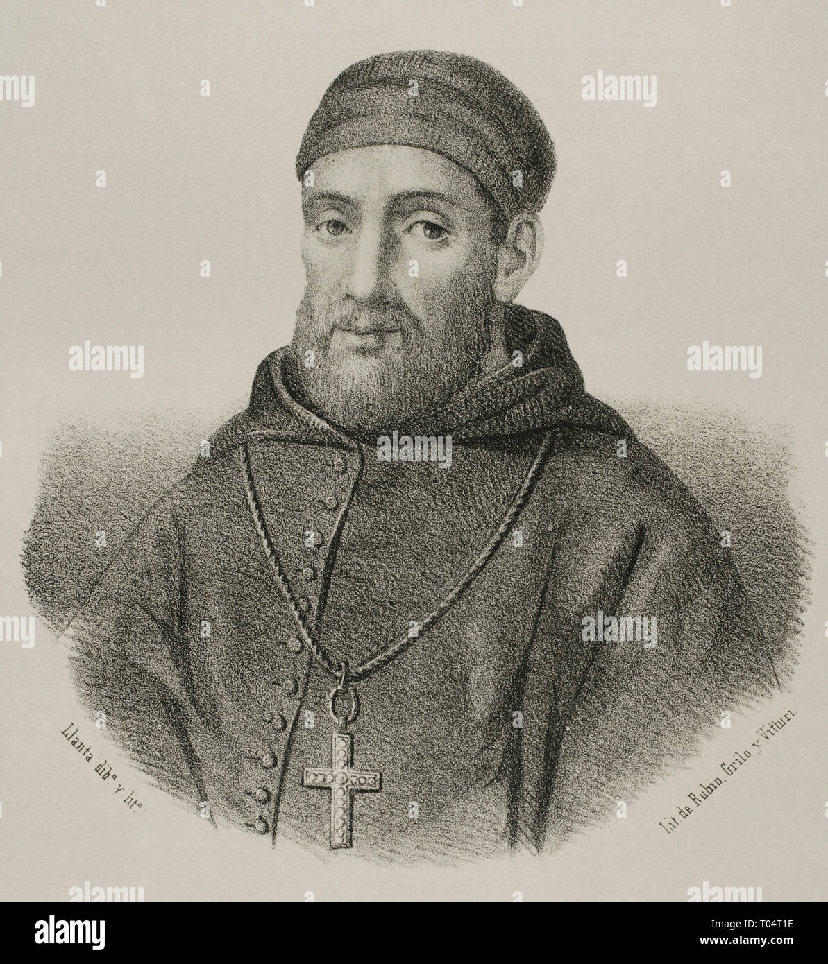 Bartolome Carranza (1503-1576). Navarrese priest,  archbishop and theologian, very influential during the Council of Trento and in the restoration of Roman Catholicism in England. Portrait. Lithography. Drawing by Llanta (1839-1904). Cronica General de España, Historia Ilustrada y Descriptiva de sus Provincias. Extremadura, 1870. - Stock Image