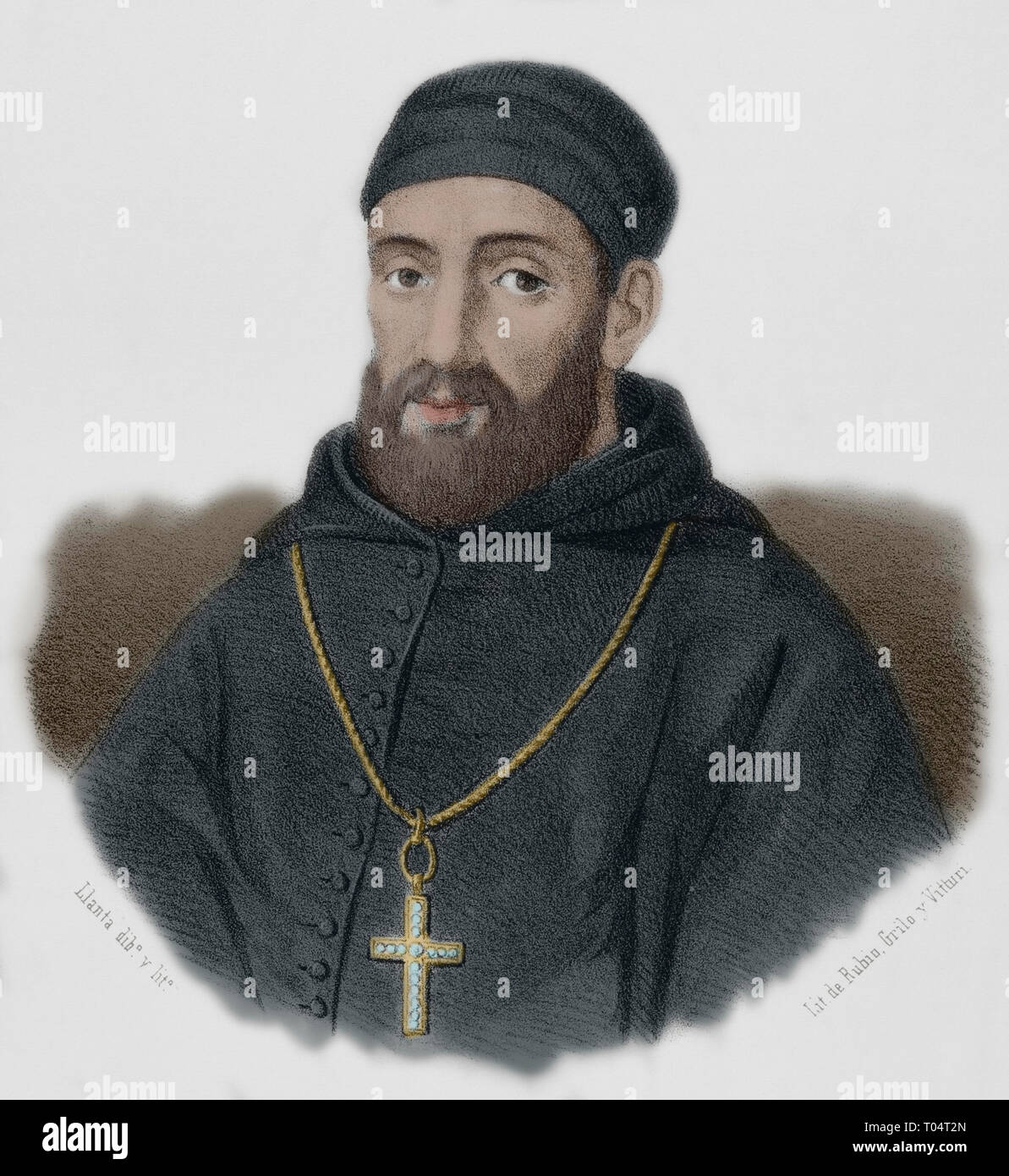 Bartolome Carranza (1503-1576). Navarrese priest,  archbishop and theologian, very influential during the Council of Trento and in the restoration of Roman Catholicism in England. Portrait. Lithography. Drawing by Llanta (1839-1904). Later colouration. Cronica General de España, Historia Ilustrada y Descriptiva de sus Provincias. Extremadura, 1870. - Stock Image