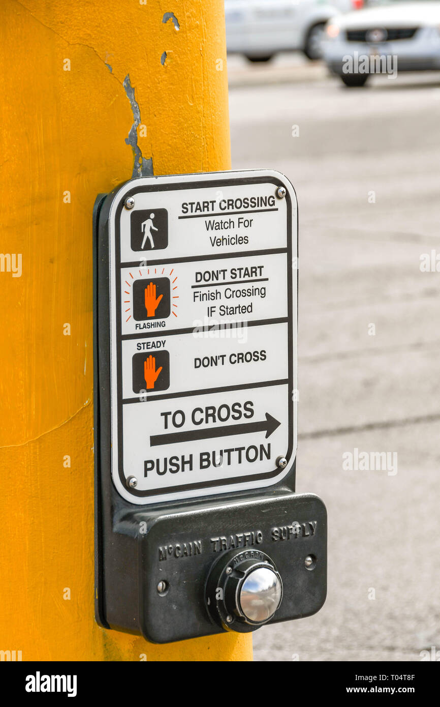 LAS VEGAS, NV, USA - FEBRUARY 2019: Close up view of a push button operating panel for a pedestrian road crossing in Las Vegas. - Stock Image