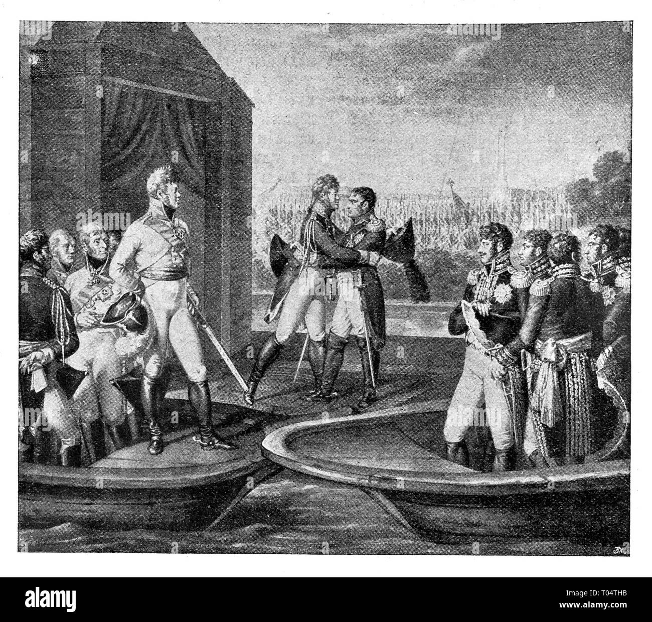 The meeting of Napoleon with Emperor Alexander II in Tilsit on the banks of the Neman River on June 25, 1807. L. Wolf / National Gallery in Berlin /. Digital improved reproduction from Illustrated overview of the life of mankind in the 19th century, 1901 edition, Marx publishing house, St. Petersburg. - Stock Image