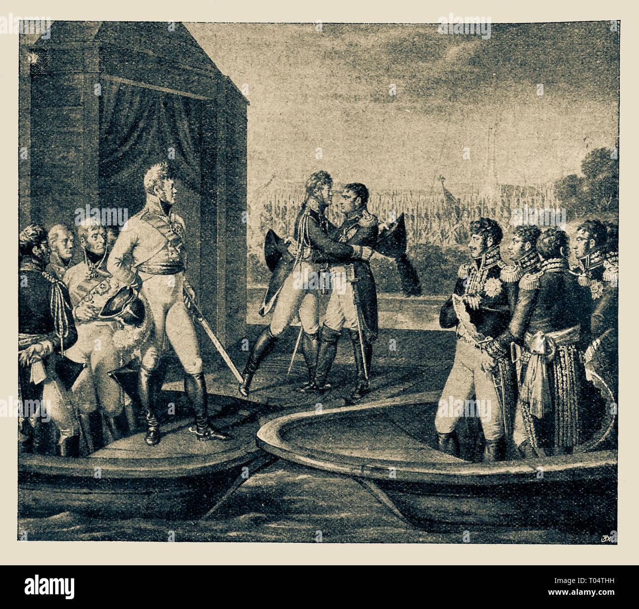 Decorative Arts Disciplined 1825 Napoleon Emperor Alexander Niemen River Original Hand Colored Engraving