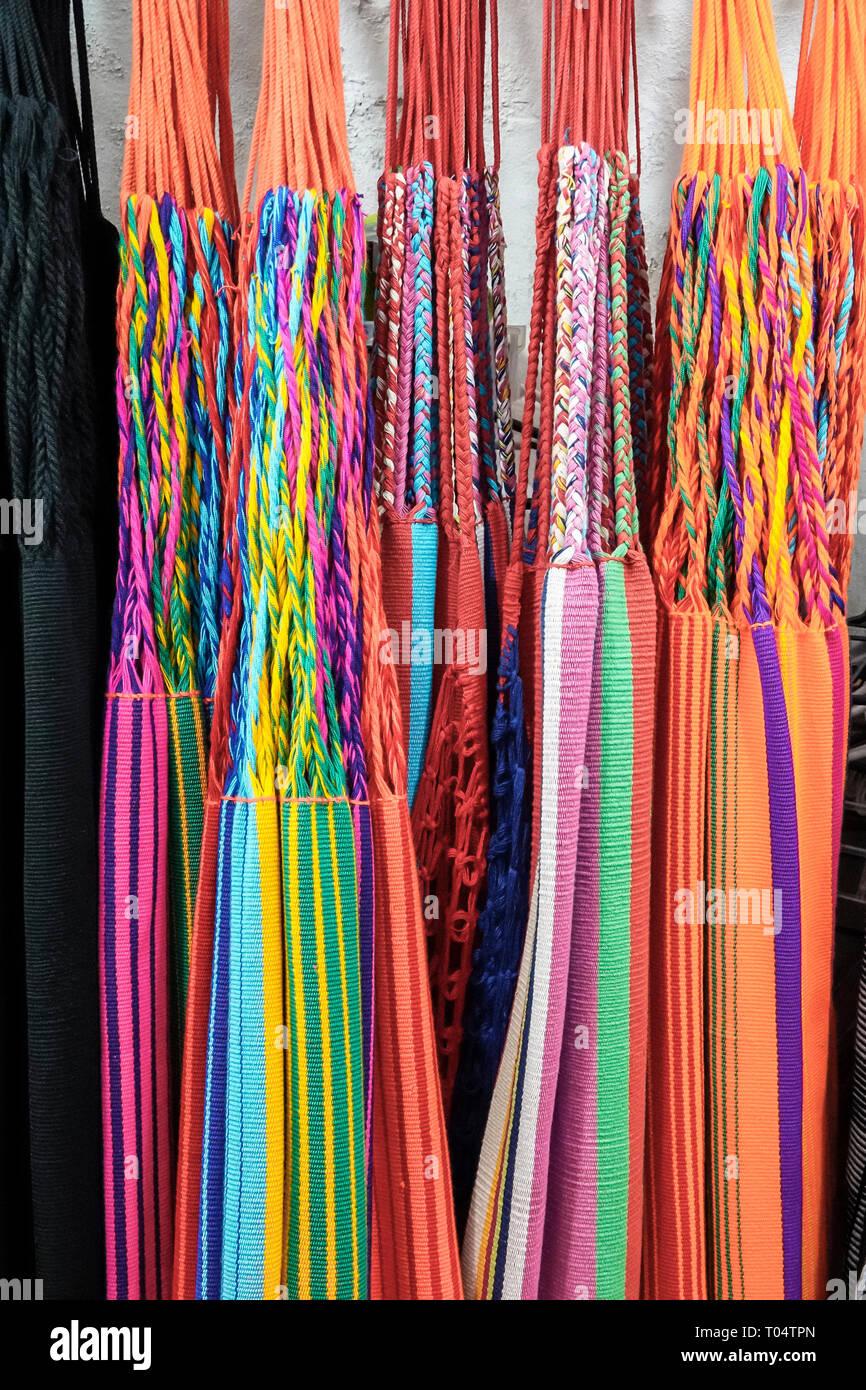 Cartagena Colombia Old Walled City Center centre Centro shopping display sale colorful San Jacinto handwoven hammocks handicraft Playa de las Bovedas - Stock Image