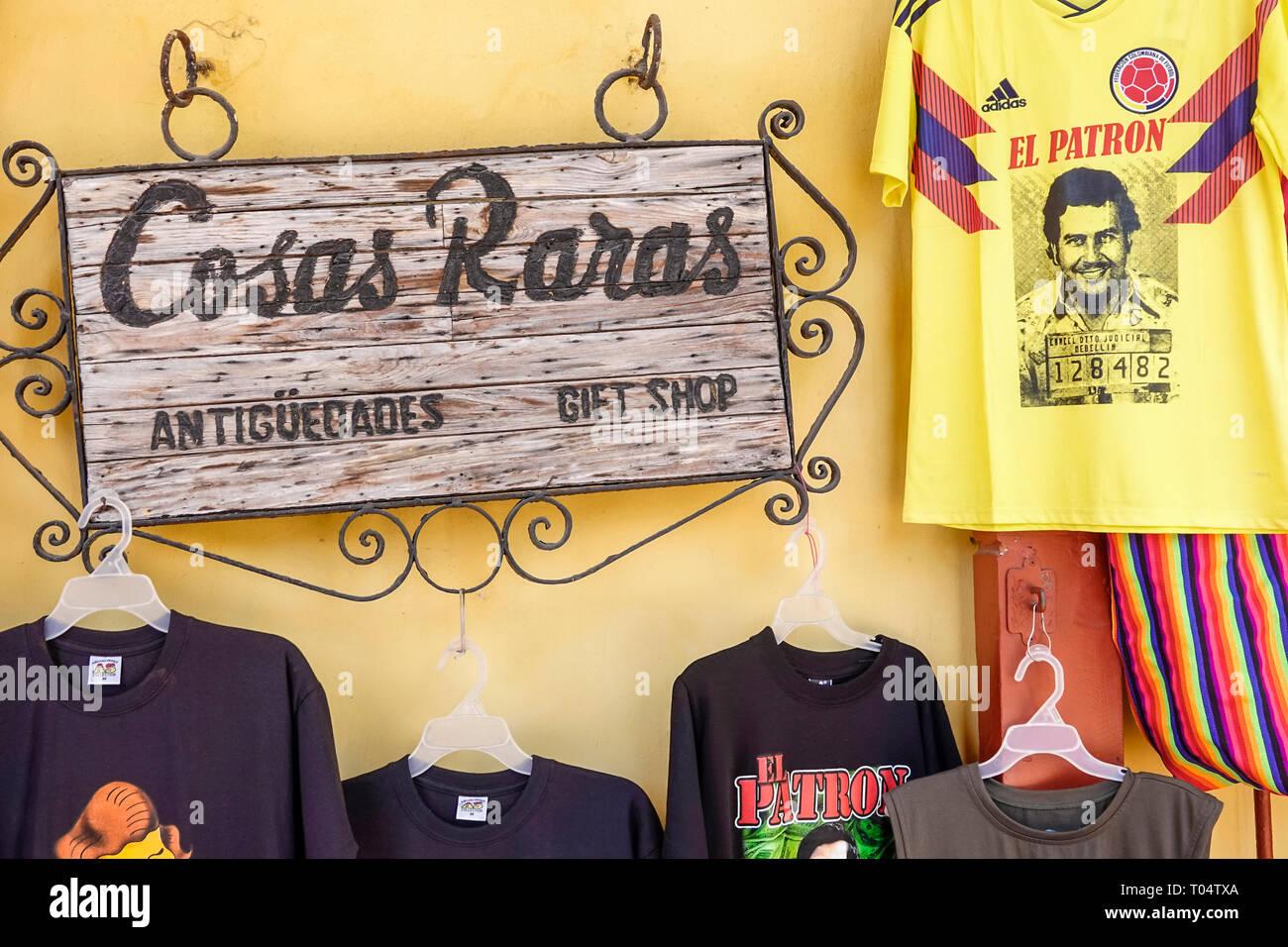 Cartagena Colombia Old Walled City Center centre Centro shopping display sale Playa de las Bovedas El Patron tee shirt Playa de las Bovedas gift shop - Stock Image