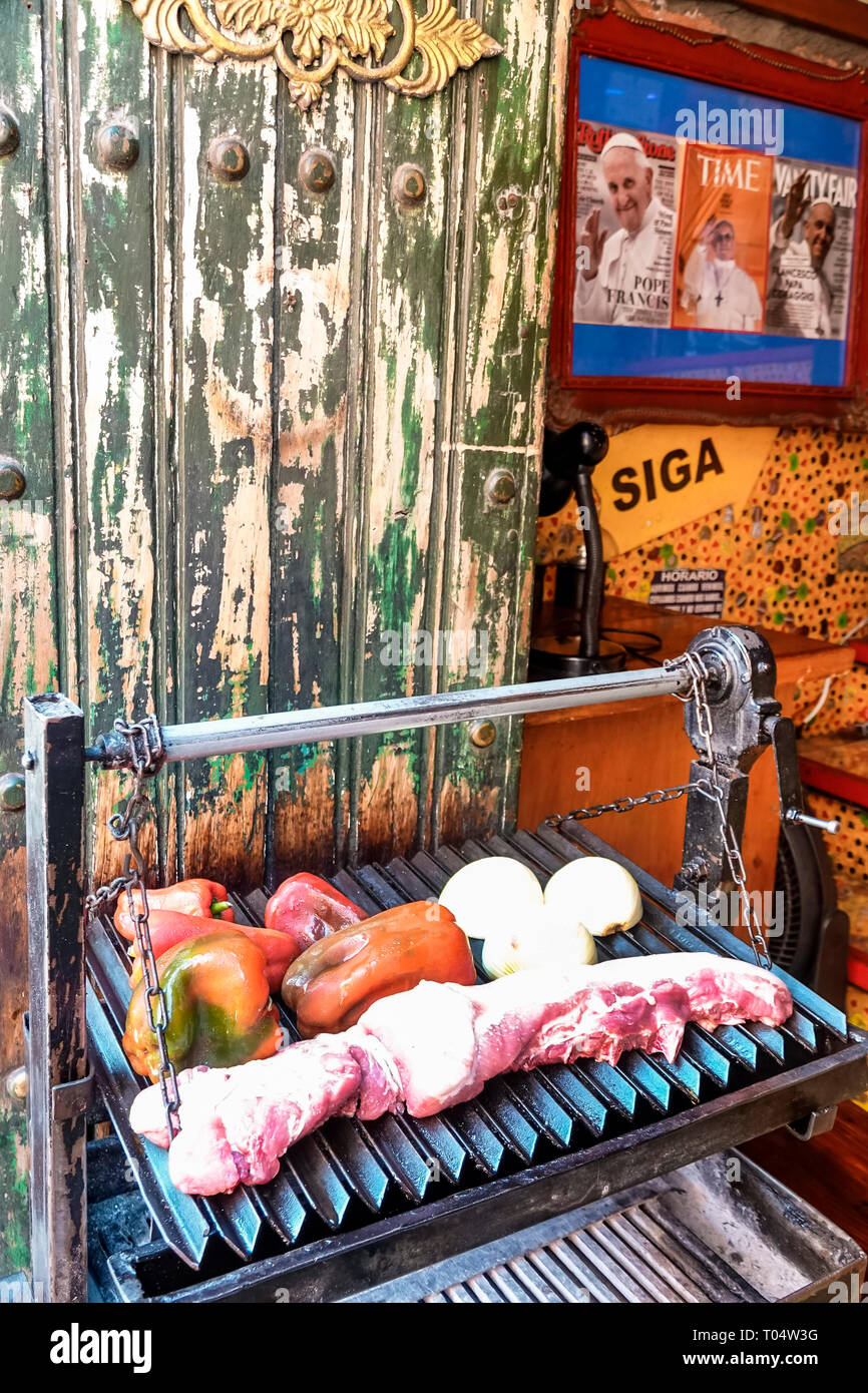 Cartagena Colombia Old Walled City Center centre Centro Marzola Parrilla Argentina restaurant grill steak peppers food display - Stock Image