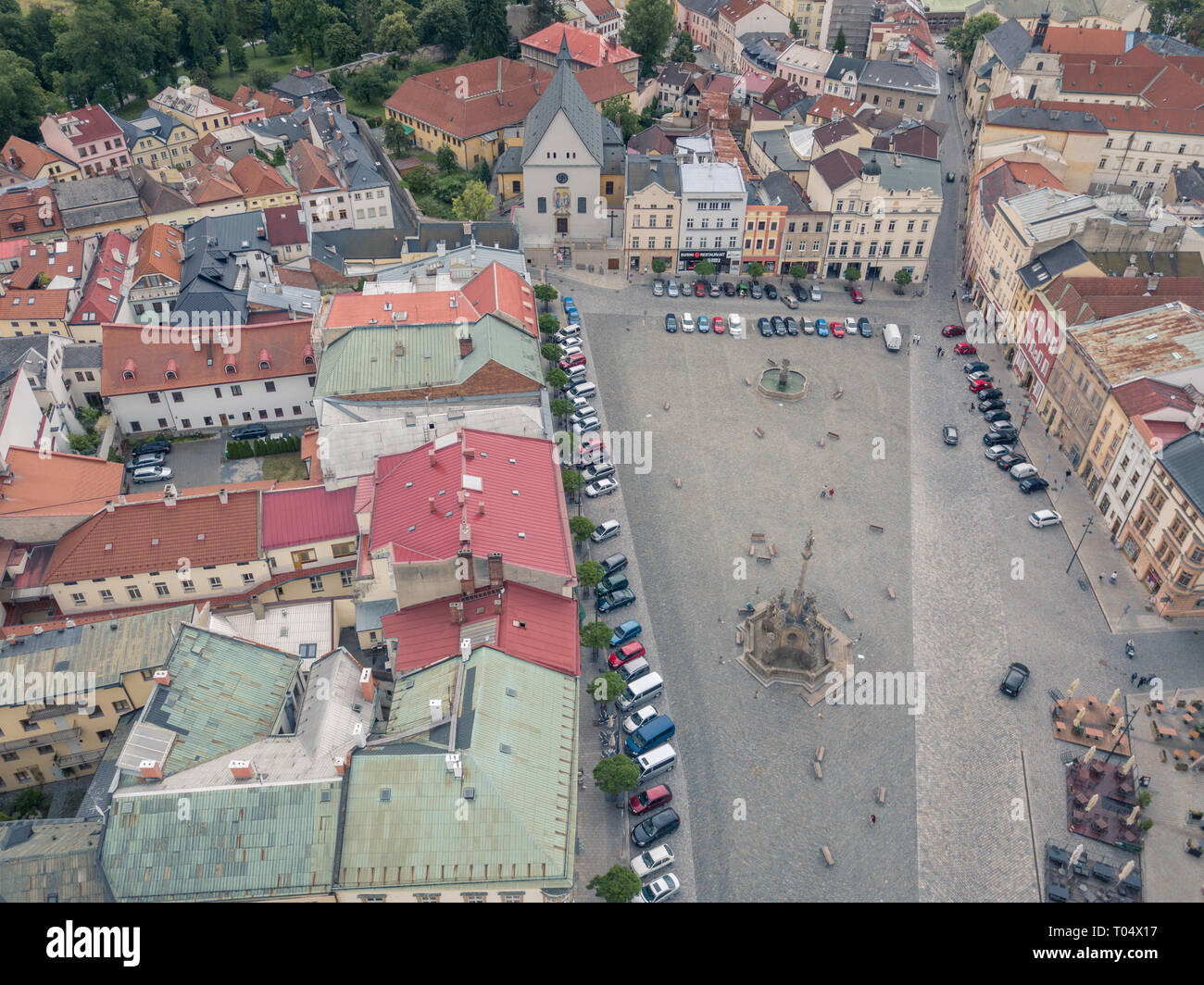 Aerial of Lower square in city of Olomouc (Holomóc or Olomóc, Olmütz, Olomucium, Iuliomontium, Ołomuniec) in Czech Republic. - Stock Image