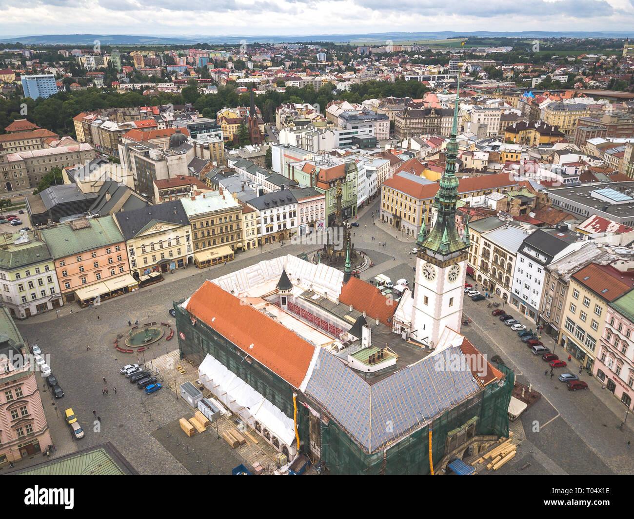 Aerial of Upper square in city of Olomouc (Holomóc or Olomóc, Olmütz, Olomucium, Iuliomontium, Ołomuniec) in Czech Republic. - Stock Image