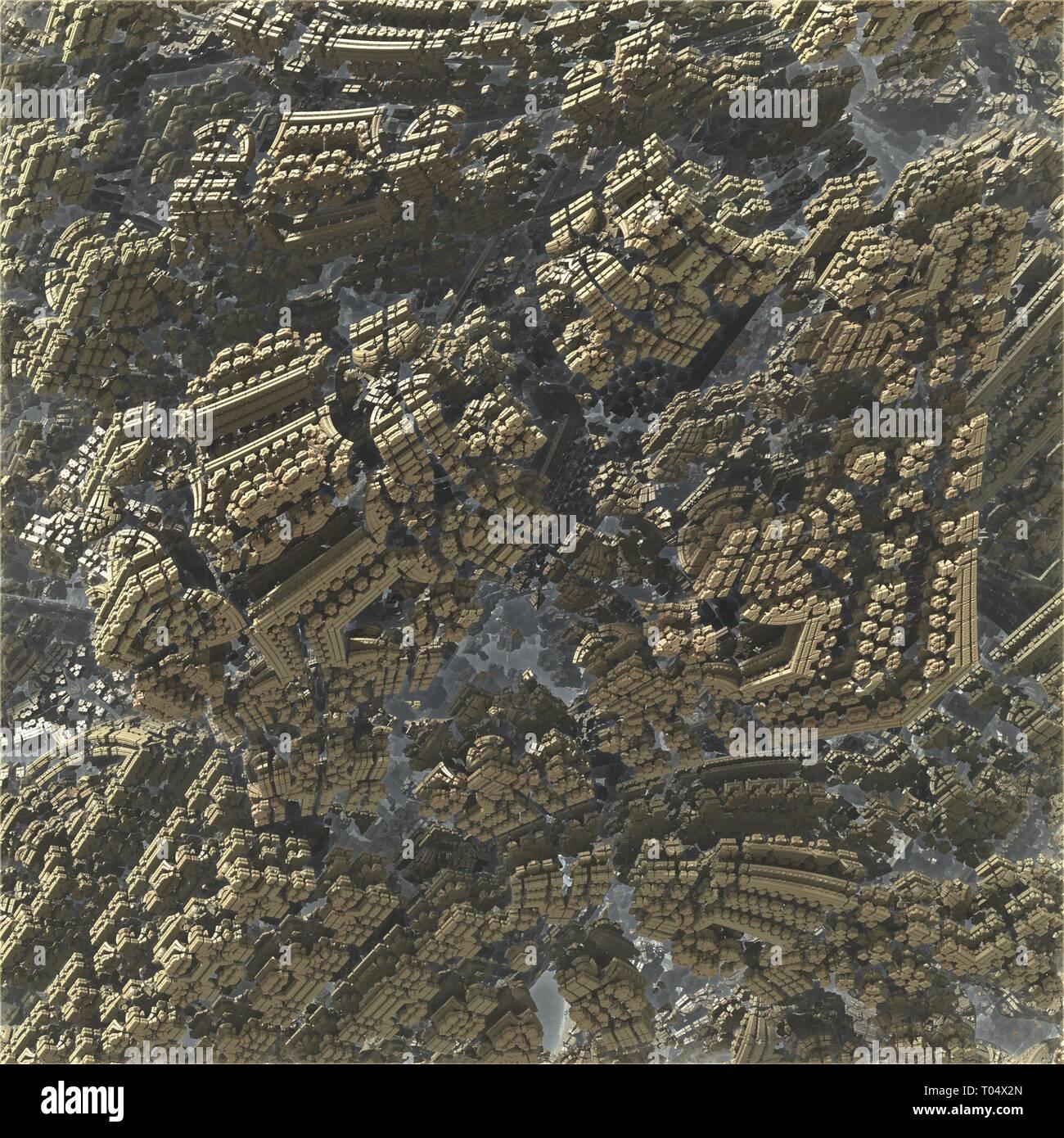 Mandelbrot fractal city landscape - Stock Image
