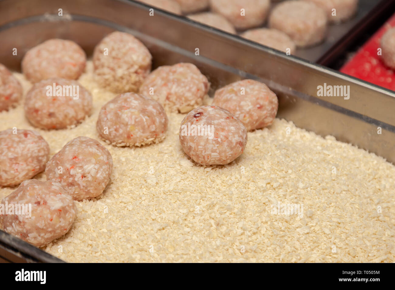Closeup Preparation Of The Chicken Cutlets For Burgers Bread Crumbs And Butter On The Metal Kitchen Table Ingredients Concept Restaurant Business Stock Photo Alamy