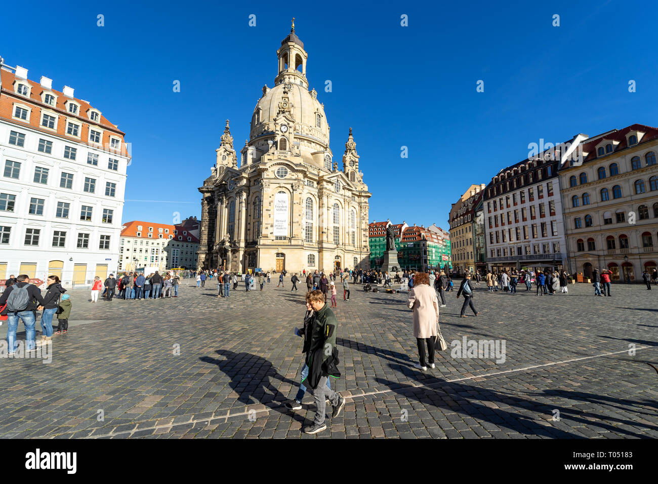 DRESDEN, GERMANY - OCTOBER 31, 2018: Neumarkt Square and