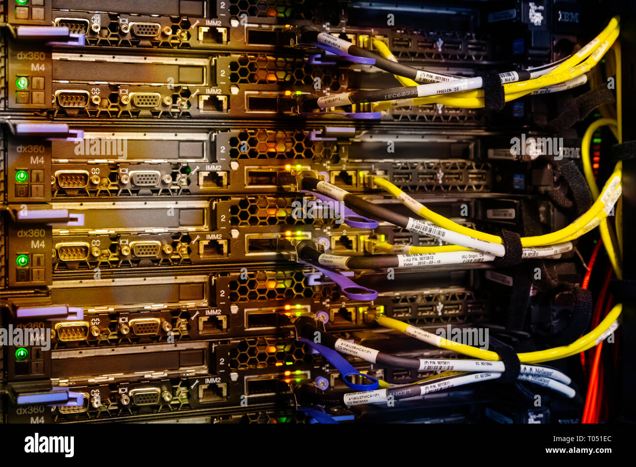 Supercomputer with cables and lamps - Stock Image