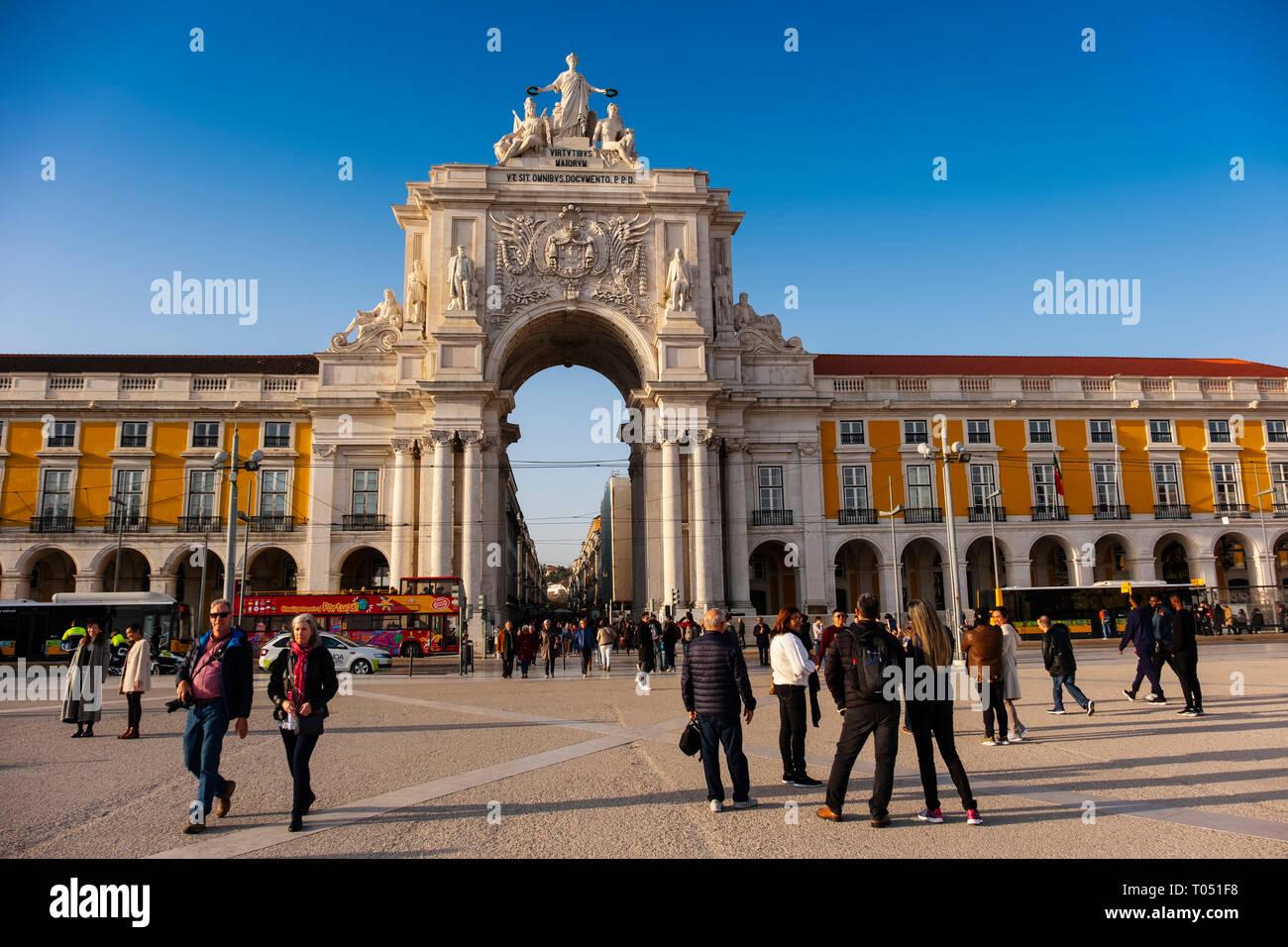 Triumphal Arch of Rua Augusta, Commerce Square. Lisbon, Portugal. Europe - Stock Image