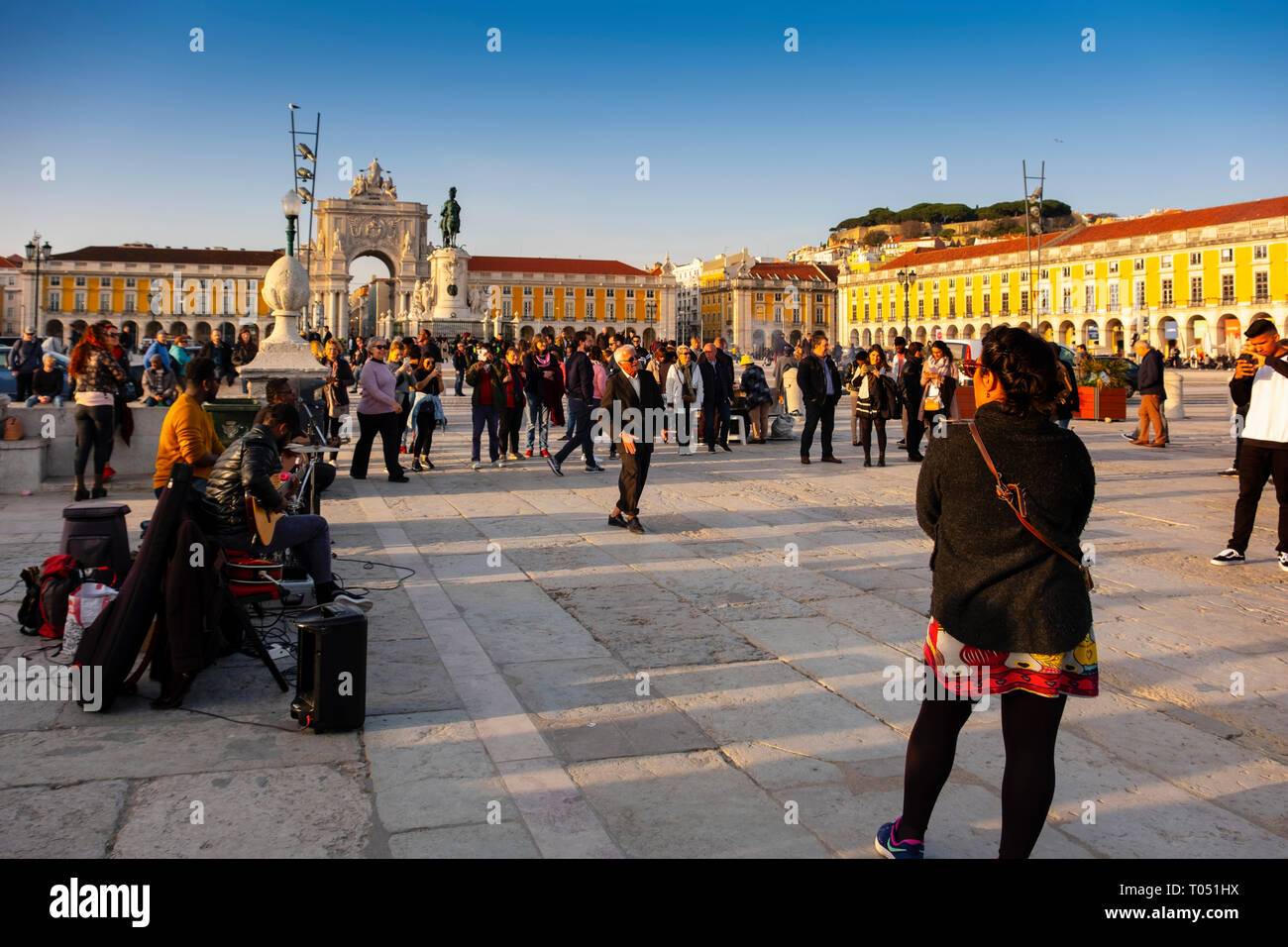 Triumphal Arch of Rua Augusta at dusk, Commerce Square. Lisbon, Portugal. Europe - Stock Image