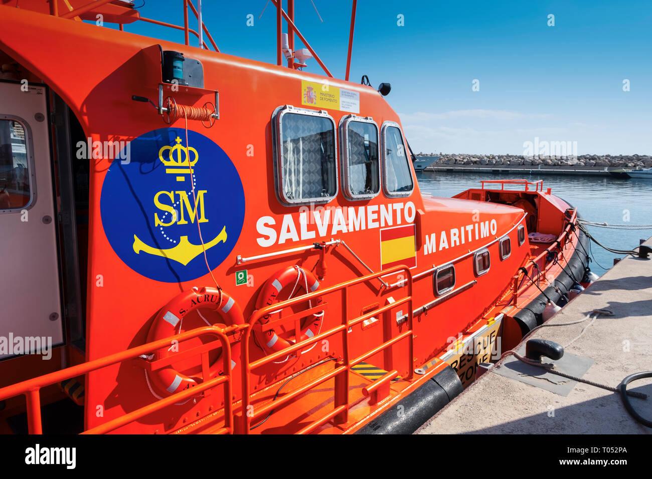 Salvamento Maritimo. Marine rescue boat. Lifeboat moored in the harbor at Marina Puerto Portals, Palma de Mallorca. Majorca, Balearic Islands, Spain E Stock Photo
