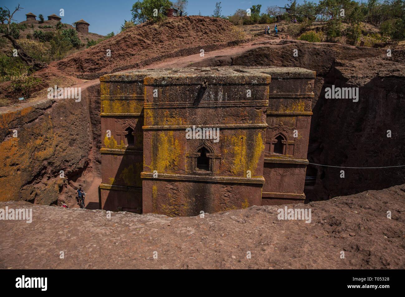 Bete Giyorgis, church of Saint Georges, Lalibela, the Jerusalem of Ethiopia - Stock Image