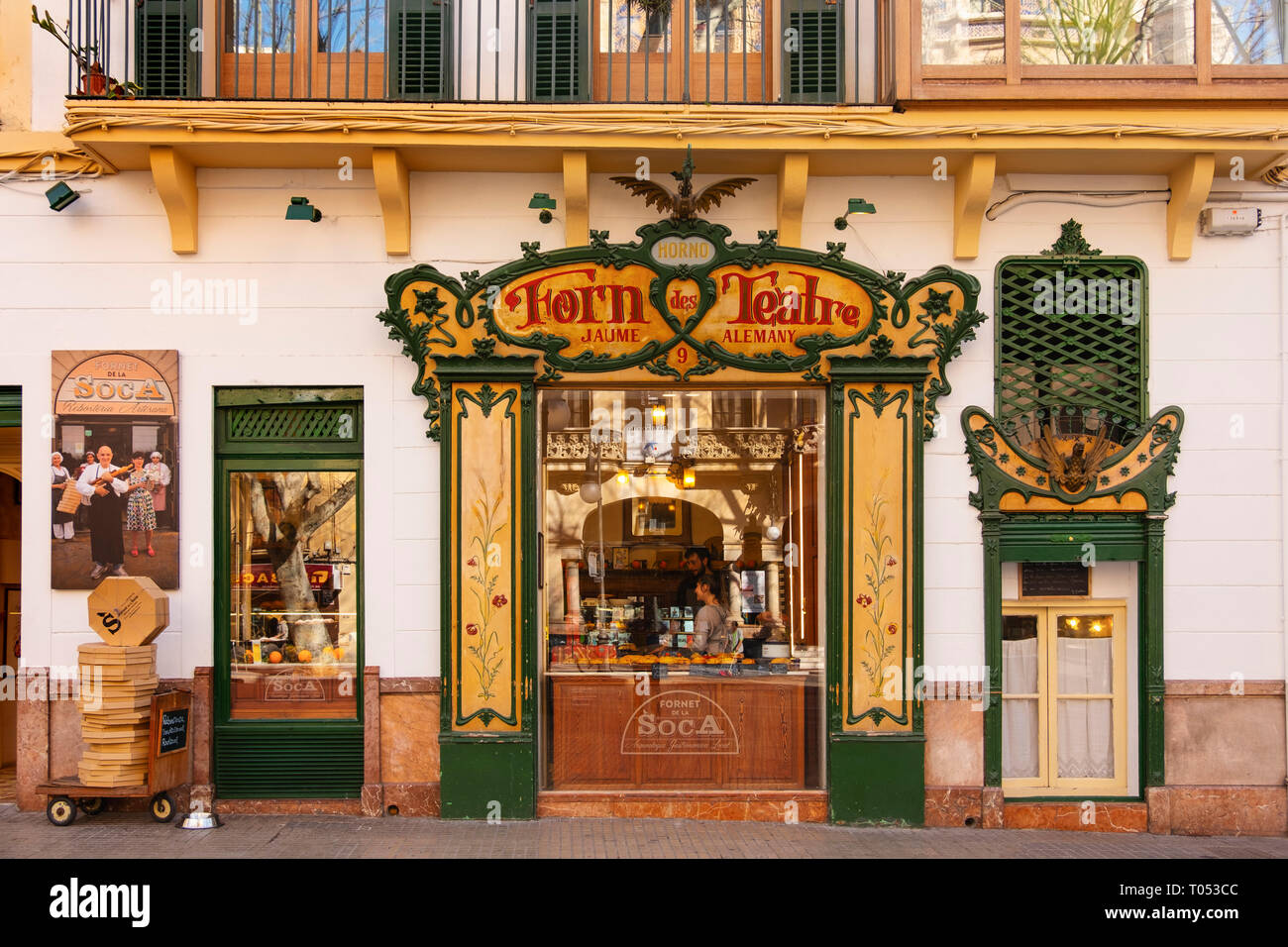 Typical Pastry shop Forn de Teatre, Palma de Mallorca. Majorca, Balearic Islands, Spain Europe - Stock Image