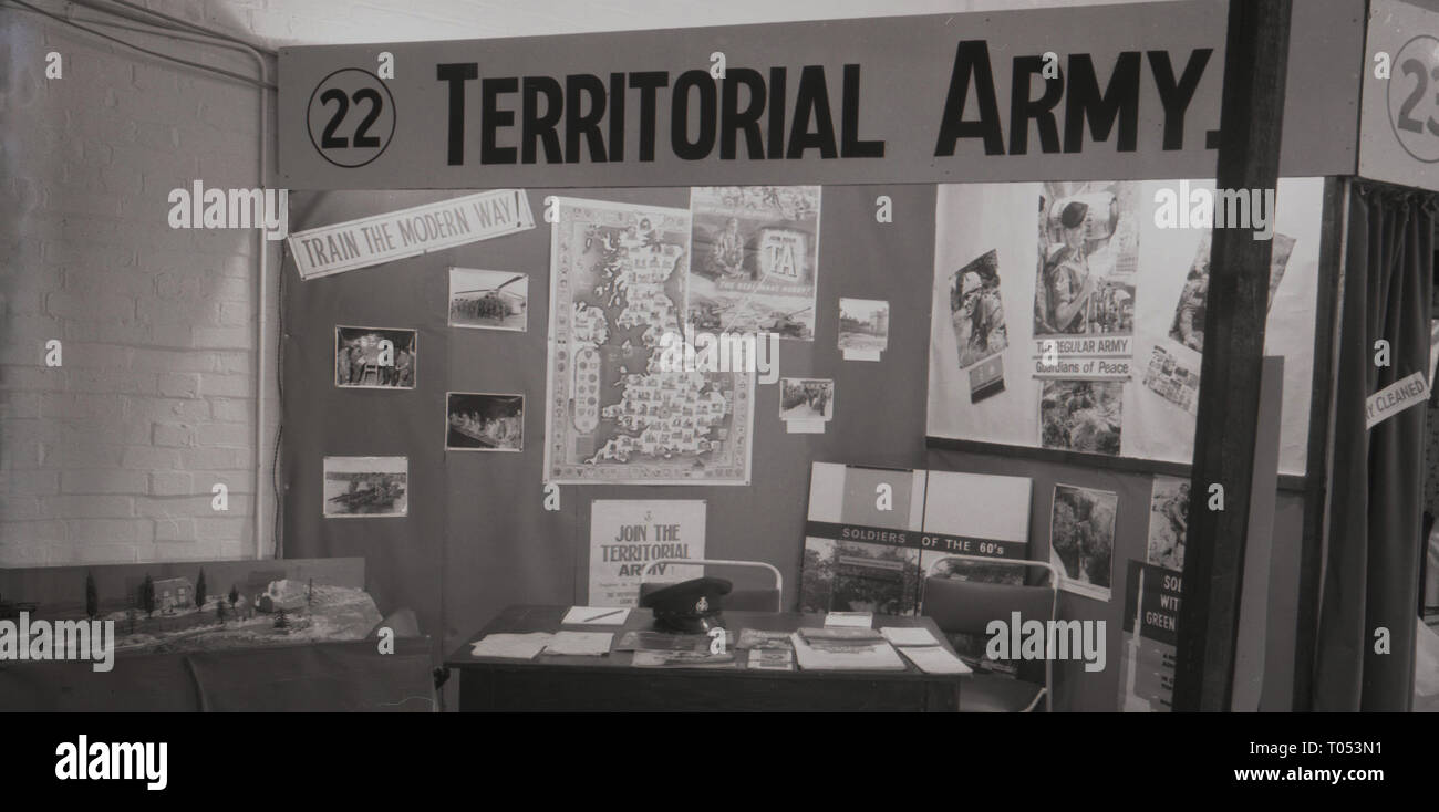 1960s, exhibition stand for the Territorial Army, England, UK. - Stock Image
