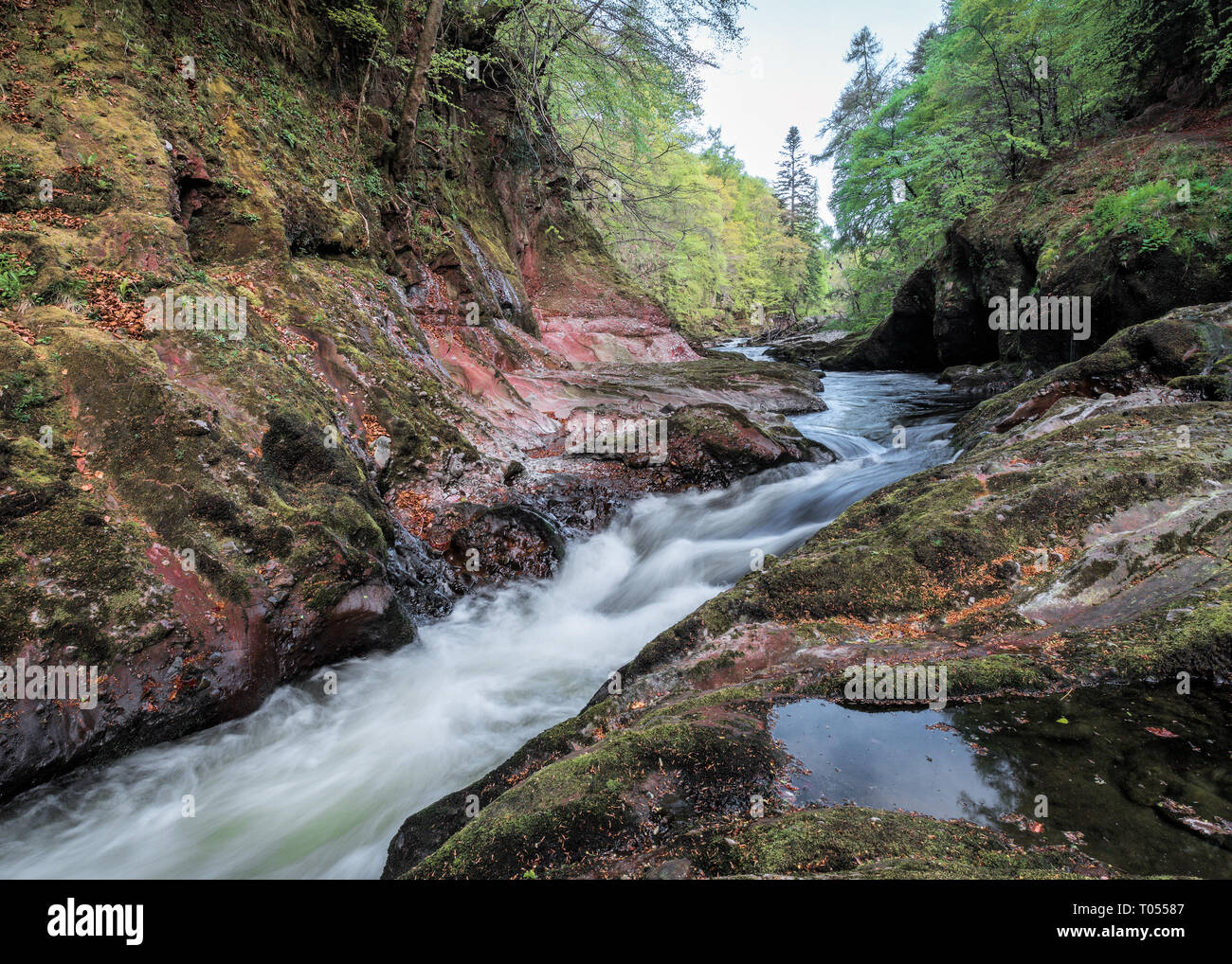 North river Esk flowing through a rocky gully in Autumn near Edzell, Angus, Scotland - Stock Image