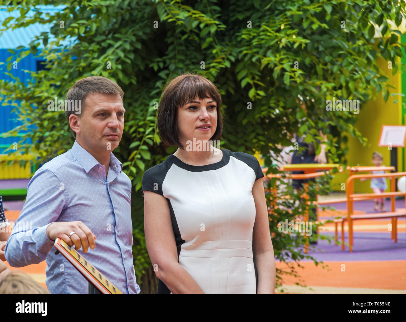 Dnipro, Ukraine - June 27, 2018: Chairman of the Dnepropetrovsk Regional Council Gleb Prigunov and People's Deputy of Ukraine Rychkova Tatyana - Stock Image