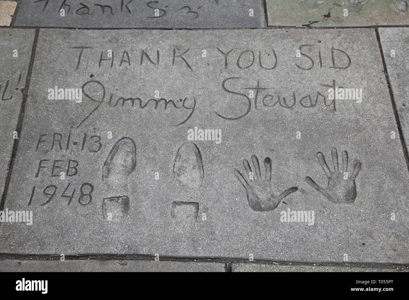Jimmy Stewart, Hand, Foot Prints, Manns (Graumans) Chinese movie Theatre, Hollywood Boulevard, Los Angeles, California, USA - Stock Image