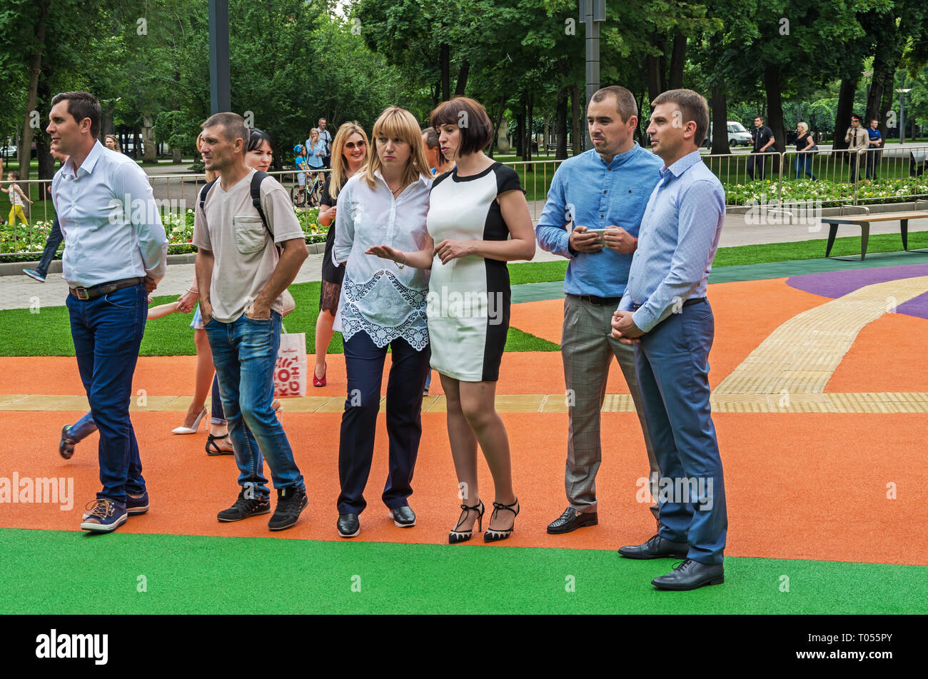 Dnipro, Ukraine - June 27, 2018: Dnipropetrovsk officials at opening of an inclusive children park - Stock Image