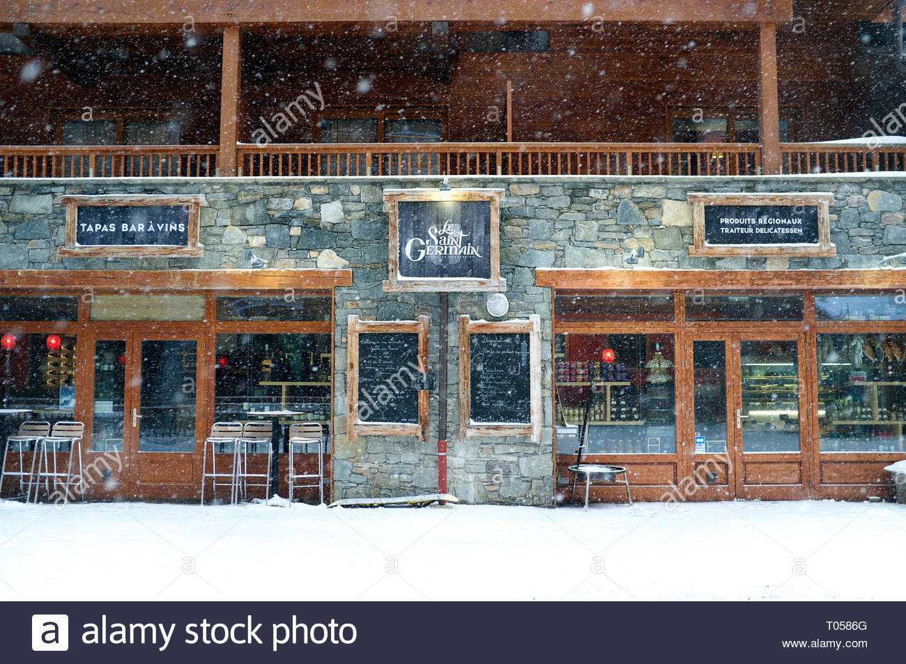 Le Saint Germain (bar & restaurant), at the ski resort in Sainte-Foy-Tarentaise, Auvergne-Rhône-Alpes region in south-eastern France. Stock Photo