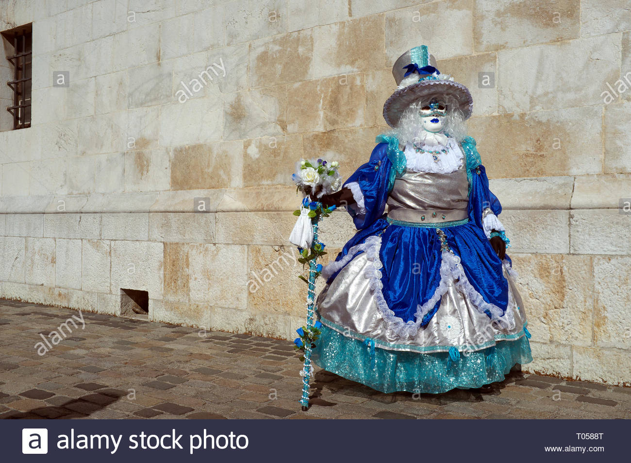 A participant at the Annecy Venetian Carnival. Annecy. Auvergne-Rhone-Alpes, south east France. Stock Photo