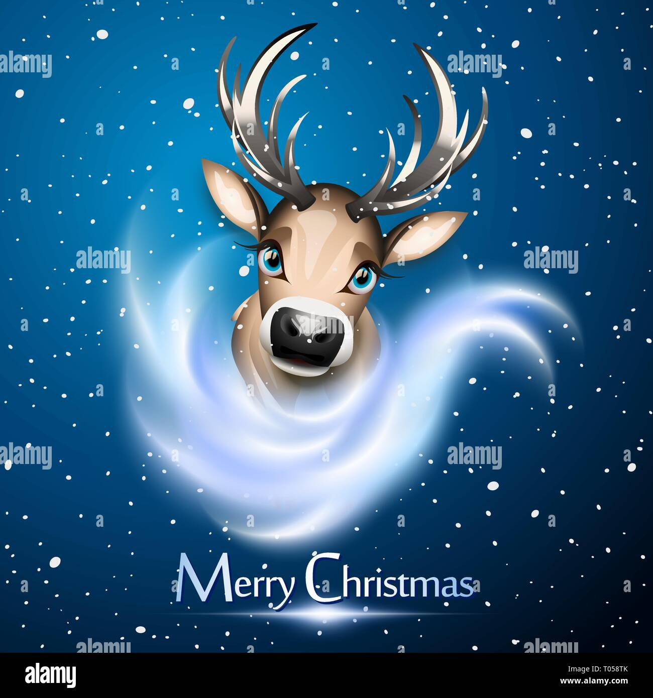 Christmas card with cute reindeer over snow and bue background - Stock Image