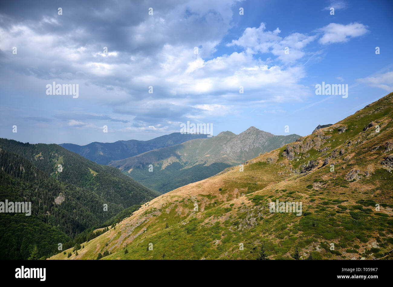 Panoramic view from Old mountain, Bulgaria. Ambaritsa and Kupen peaks in background. Cloudy summer day. - Stock Image