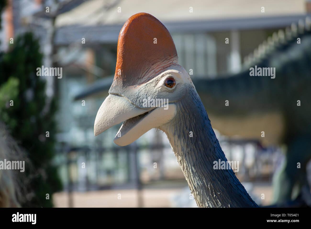 Statue of dinosaur in dino park Dinosville in Svilajnac, Serbia. - Stock Image