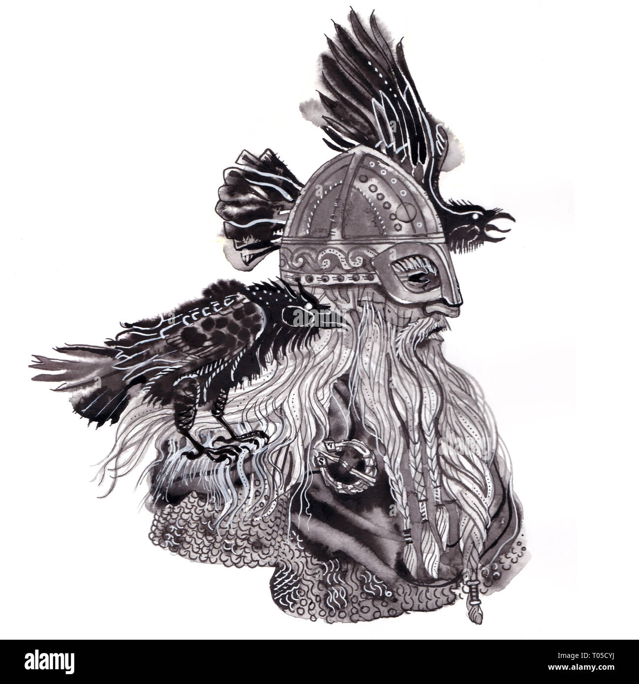 Portrait of Scandinavian god Odin in viking helmet with two ravens. Sketchy expressive artistic style hand drawn ink and brush illustration. Norse - Stock Image
