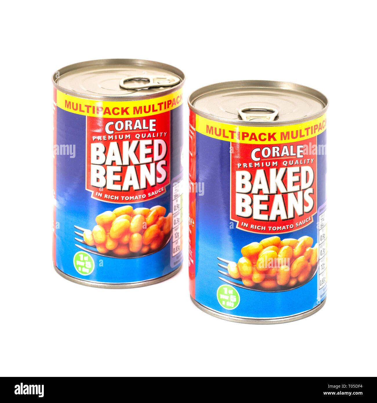 SWINDON, UK - MARCH 17, 2019: Two Cans of Corale Preamium Quality Baked Beans in rich tomato sauce on a white background - Stock Image
