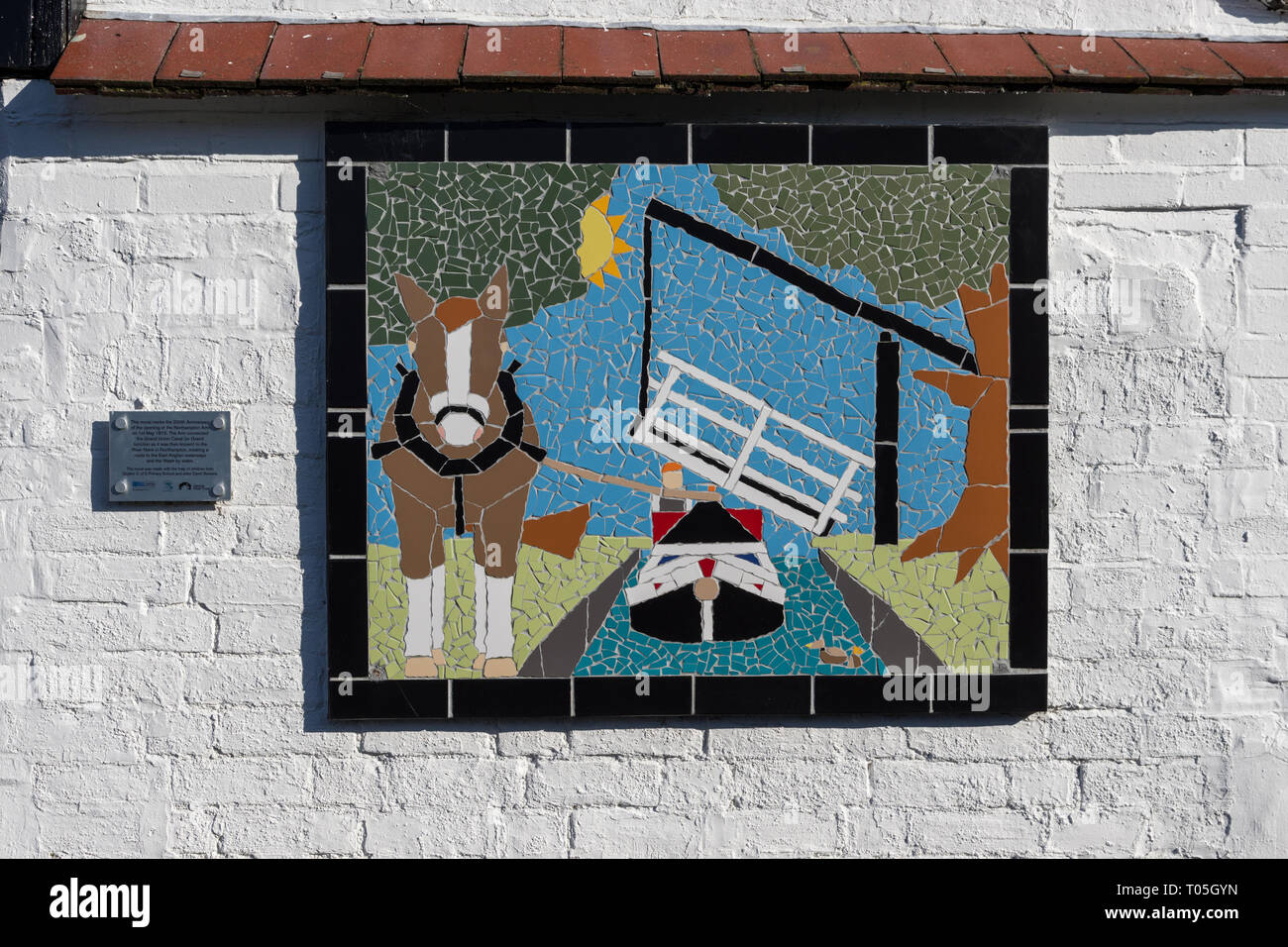 Mural for the 200th anniversary of the opening of Northampton Arm of the Grand Union canal, Blisworth Arm, Northamptonshire, UK - Stock Image