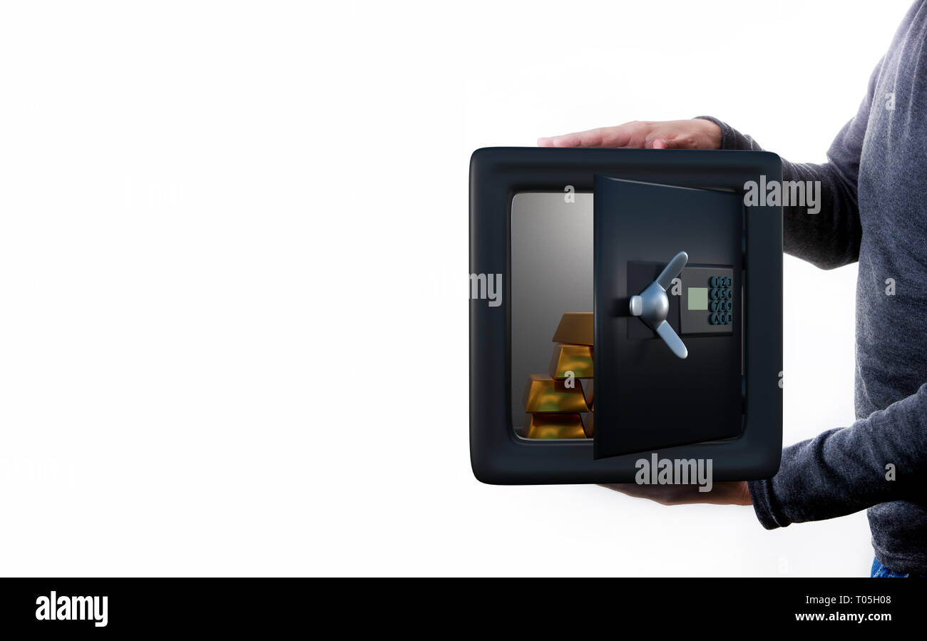 Man holds an open safe with coins . - Stock Image