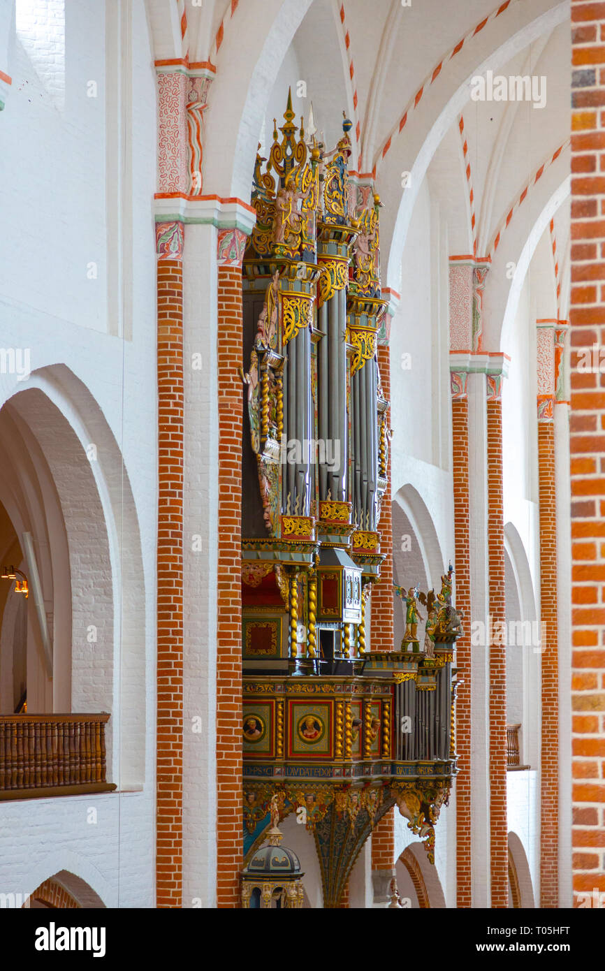 Cathedral pipe organ in interior - Stock Image