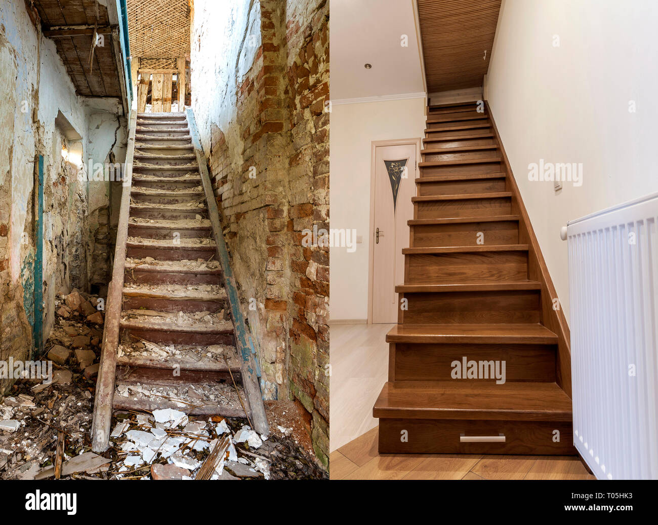 Comparison Of Modern Brown Wooden Staircase In New Renovated Apartment Interior And Old Ladder Stairs Before Renovation And After House Reconstructio Stock Photo Alamy,Parmesan Crusted Chicken