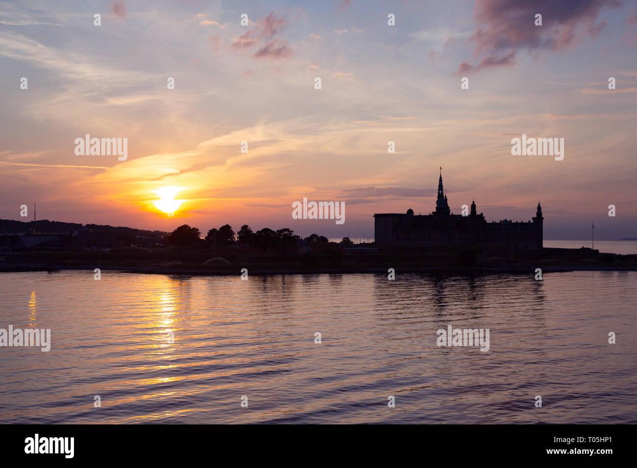 Kronborg castle silhouette in Helsingor at sunset Stock Photo