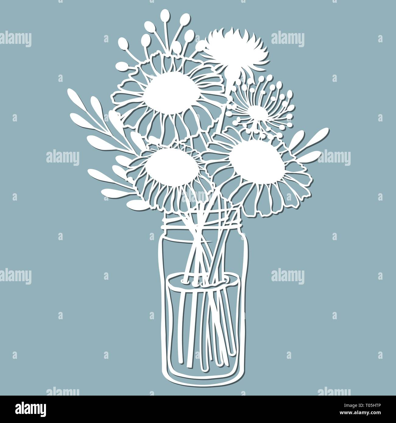 Chamomile Dandelion And Stokesia In A Jar Of Water Vector
