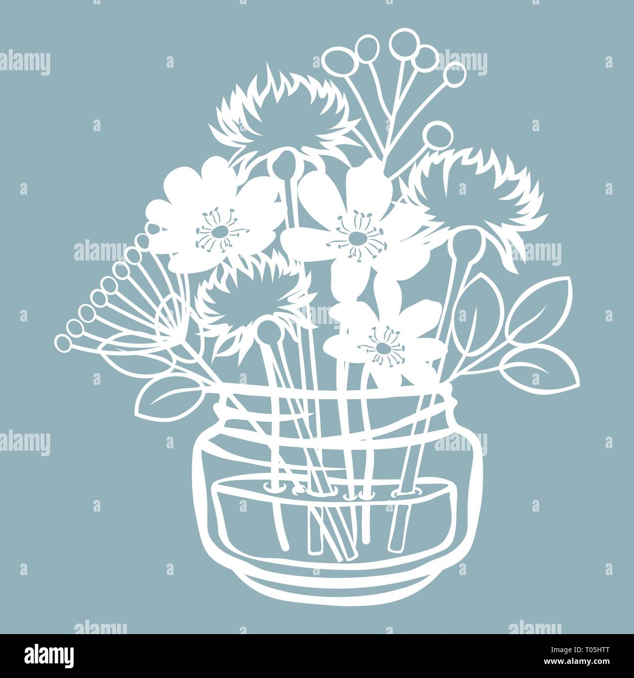 Pechenocna Dandelion And Stokesia In A Jar Of Water Vector