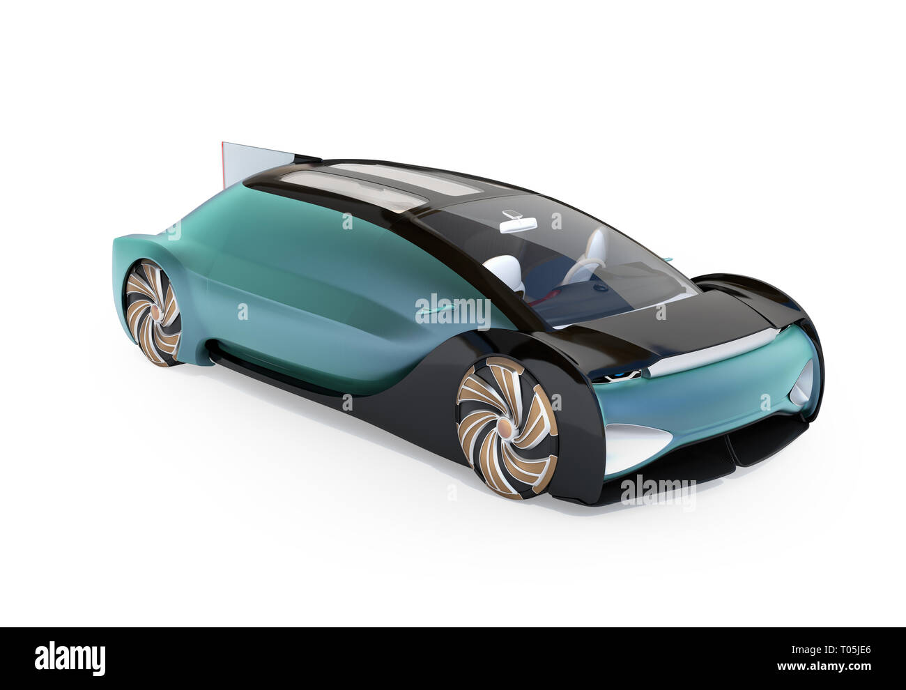 Self driving electric car isolated on white background. Original design. 3D rendering image. - Stock Image