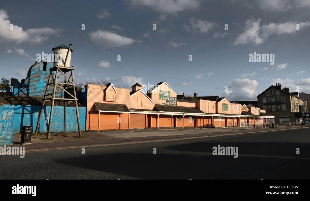 The now demolished old Ranch House bar in Morecambe. It was part of the old Frontierland Western Theme Park which closed in 1999. Stock Photo