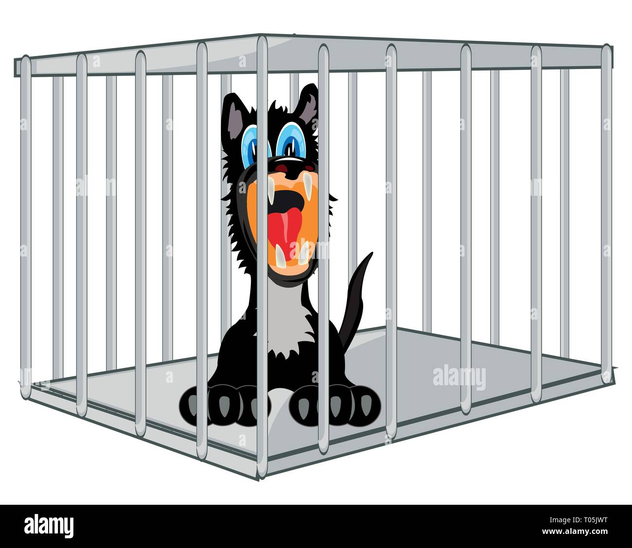 Vector illustration of the cartoon of the wolf in steel hutch - Stock Vector