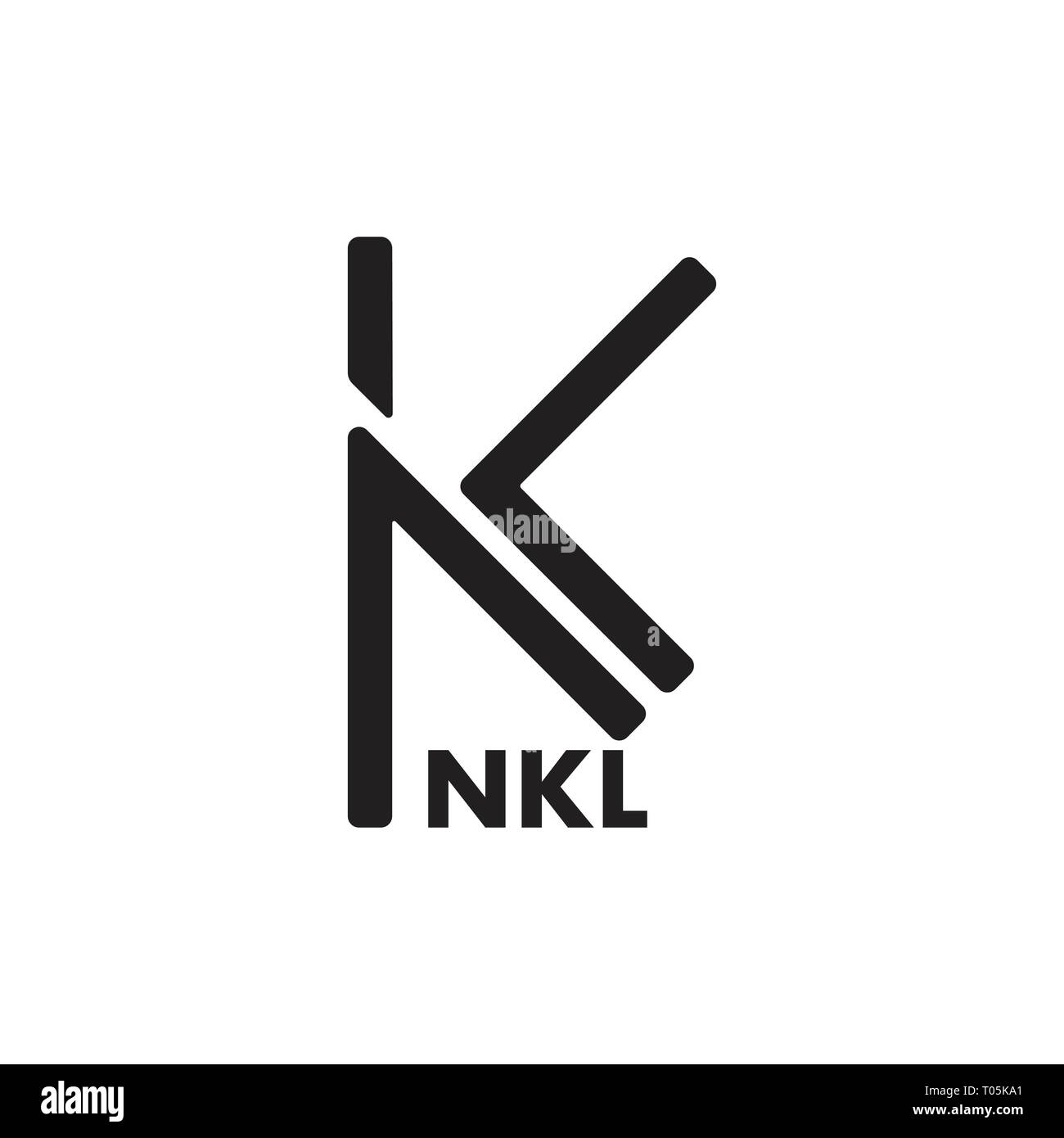 letters kl simple line logo vector - Stock Vector