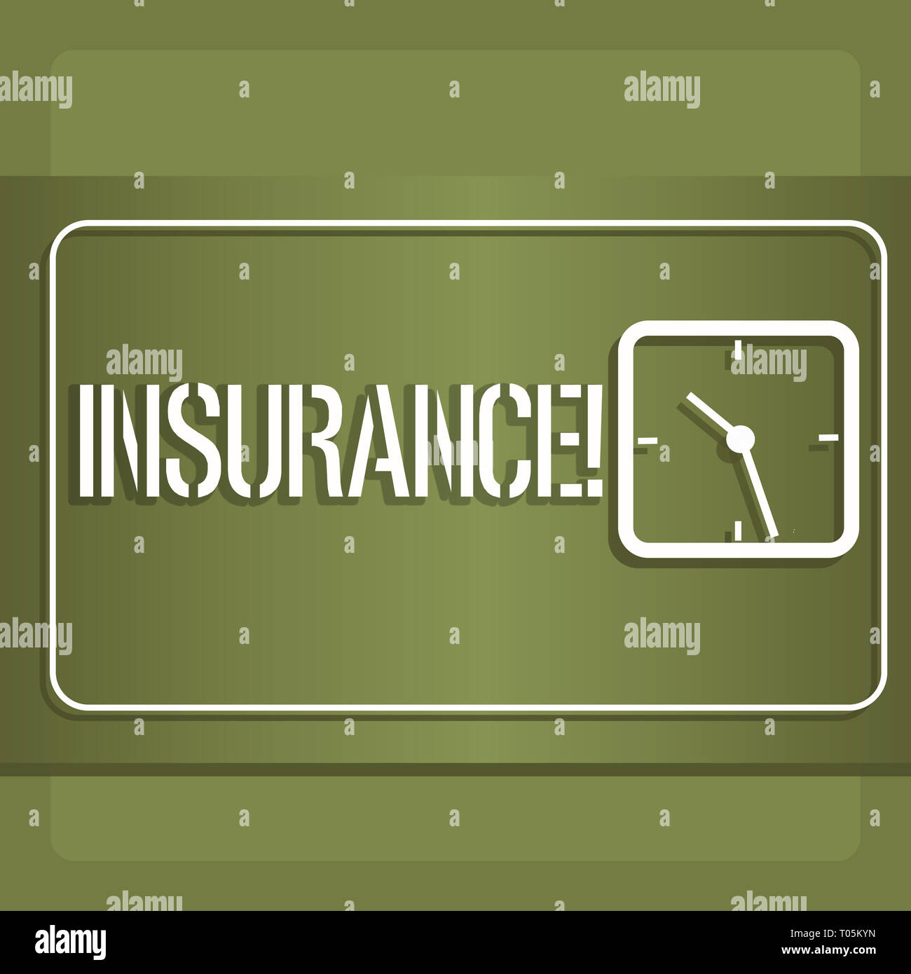 Conceptual hand writing showing Insurance. Concept meaning Policy for financial protection or reimbursement against losses Modern Design of Square Clo - Stock Image