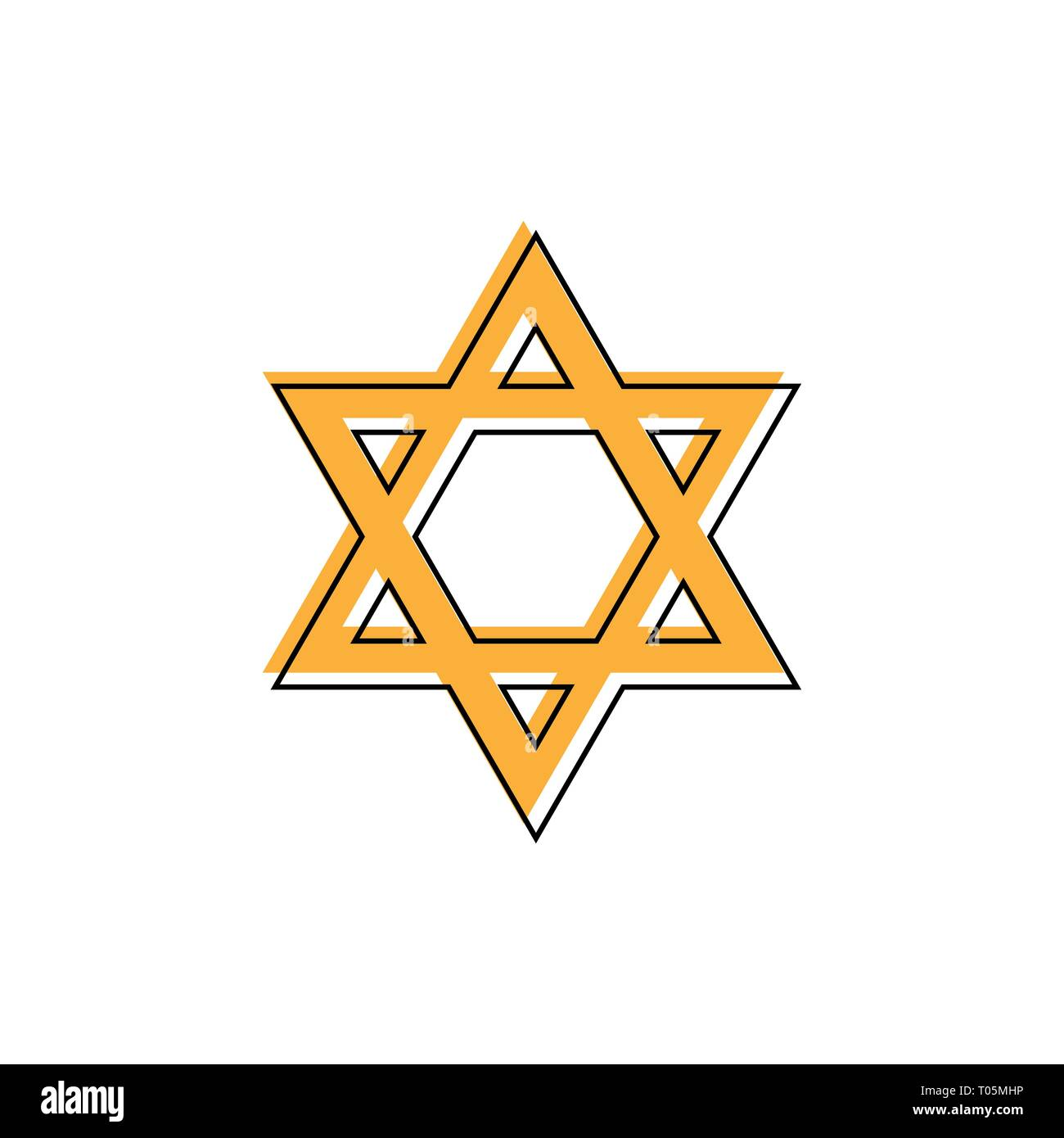 Star of David. Hexagram sign. Symbol of Jewish identity and Judaism. Simple flat orange illustration - Stock Vector