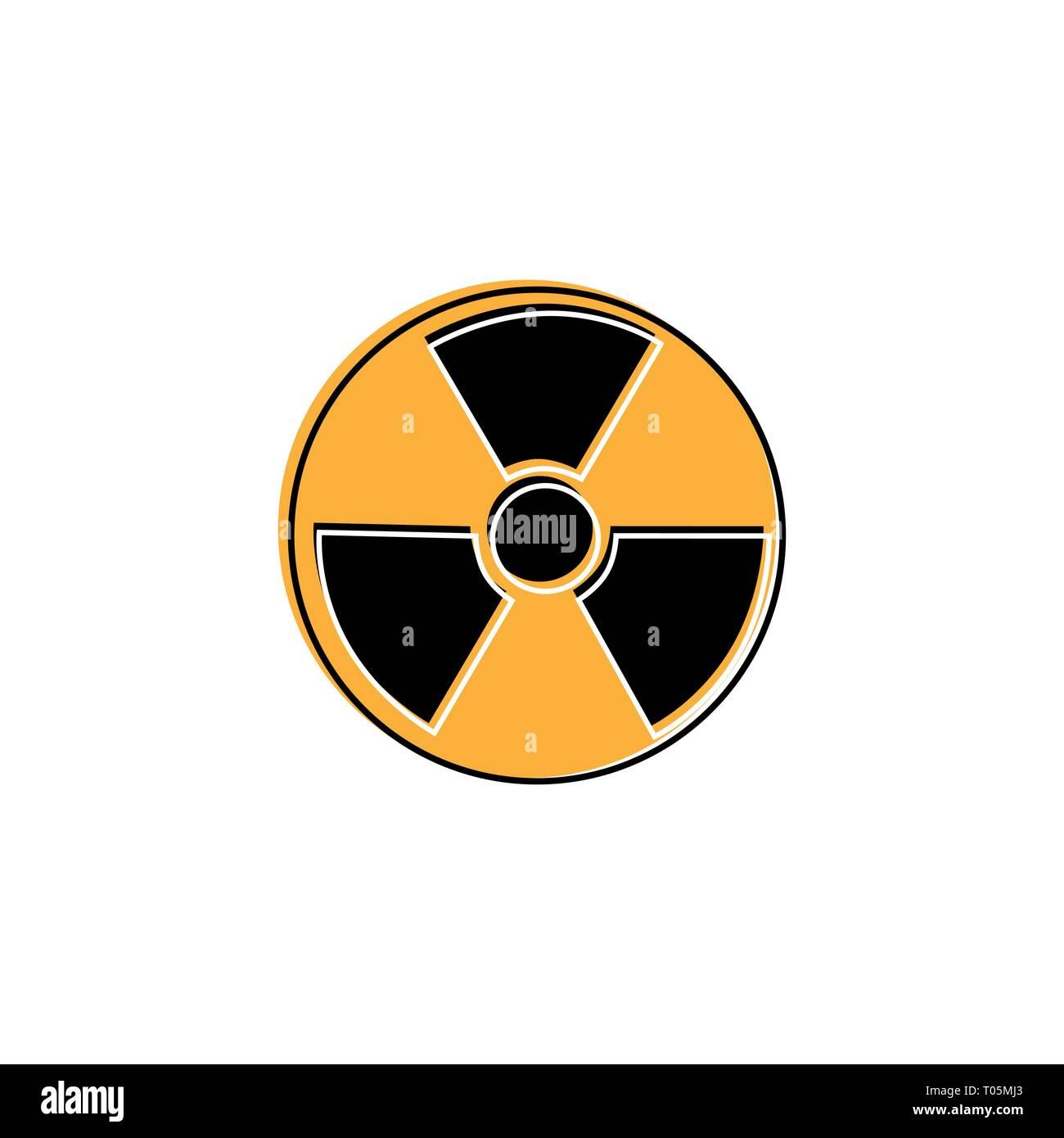Radioactive warning yellow circle sign. Radioactivity warning vector symbol - Stock Vector