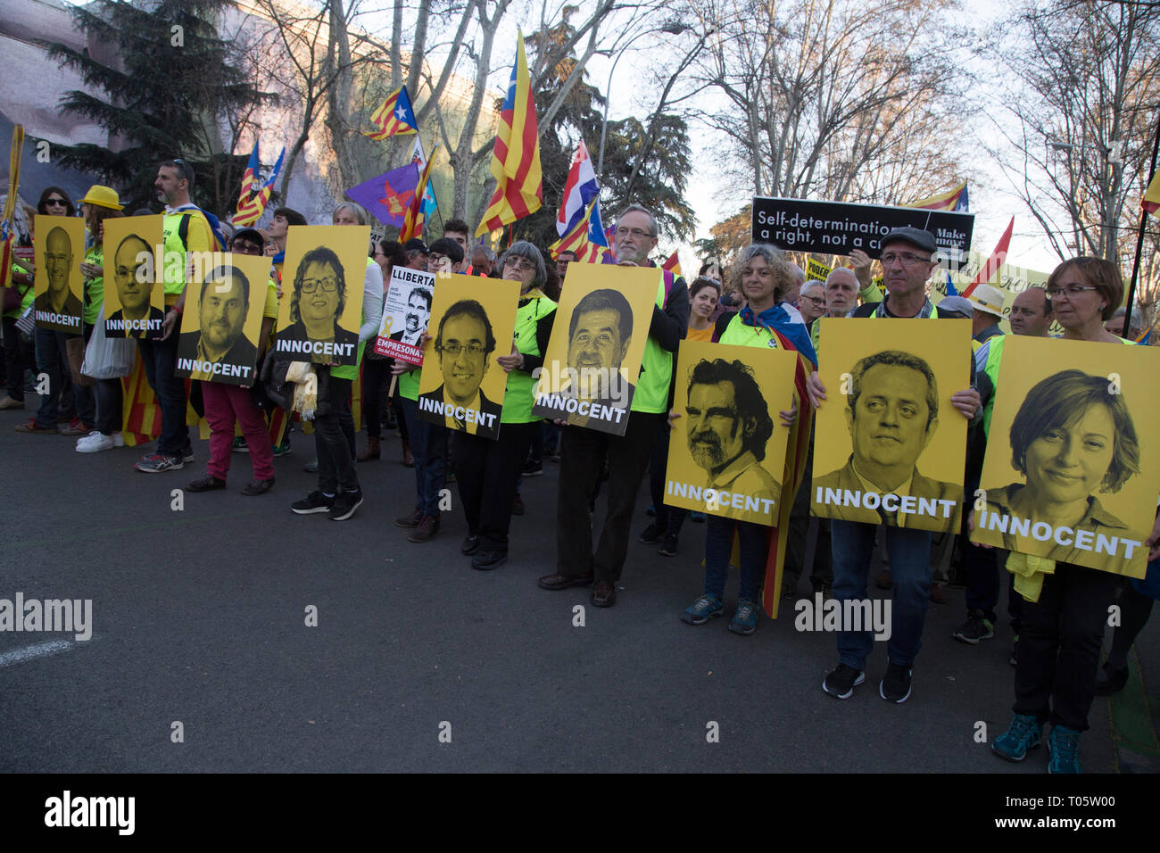 Madrid, Spain. 16th March 2019. Protesters seen carrying photos of the judicial processors by the referendum of 2017 during the demonstration. Hundreds of Catalans protest in Madrid for independence, for self-determination and for the freedom of the political prisoners. Credit: SOPA Images Limited/Alamy Live News Stock Photo